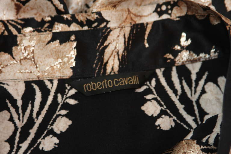 Romantic Roberto Cavalli Black Silk Gold Leaf on Ivory floral Print Blouse 7