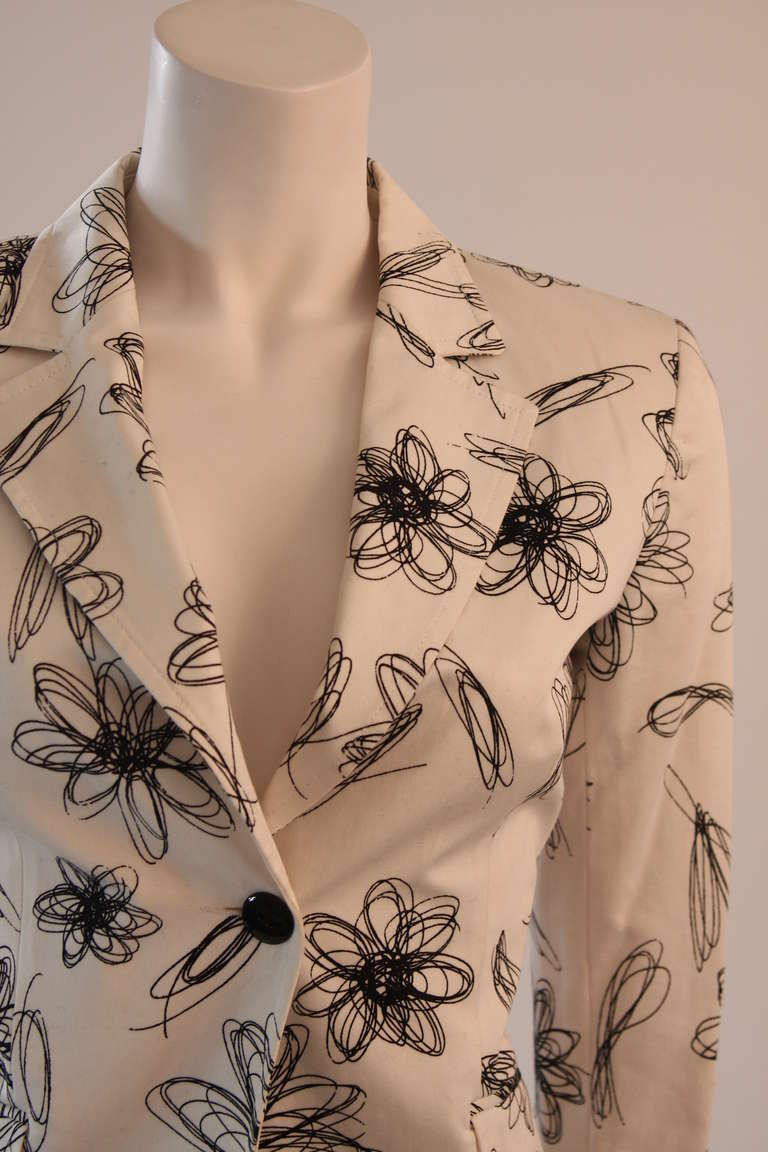 Brown Moschino Jeans White with Black Floral Sketch Single Button Blazer For Sale