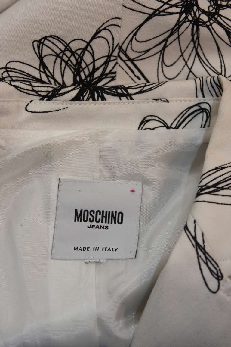 Moschino Jeans White with Black Floral Sketch Single Button Blazer 8