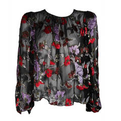 Oscar de la Renta Sheer Black Silk Blouse w. Multi-color Velvet & Lurex Flowers