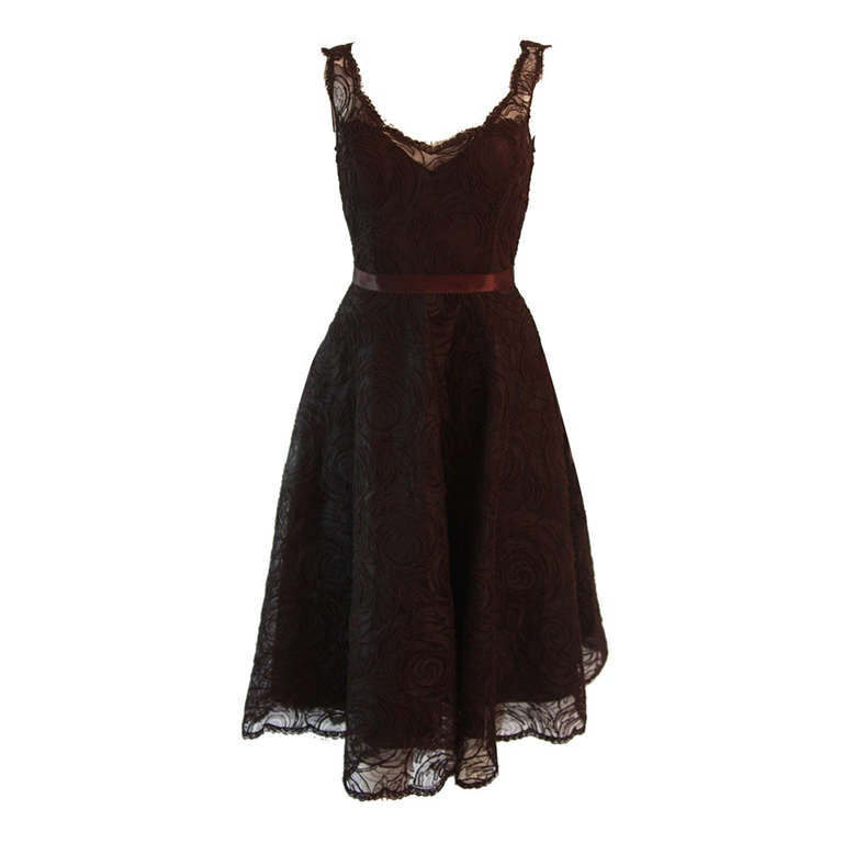 Monique Lhuillier Brown Lace Cocktail Dress Size 8 For Sale