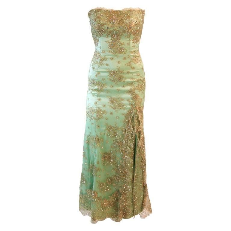 Sensational Aqua Baracci Lace and Rhinestone Gown