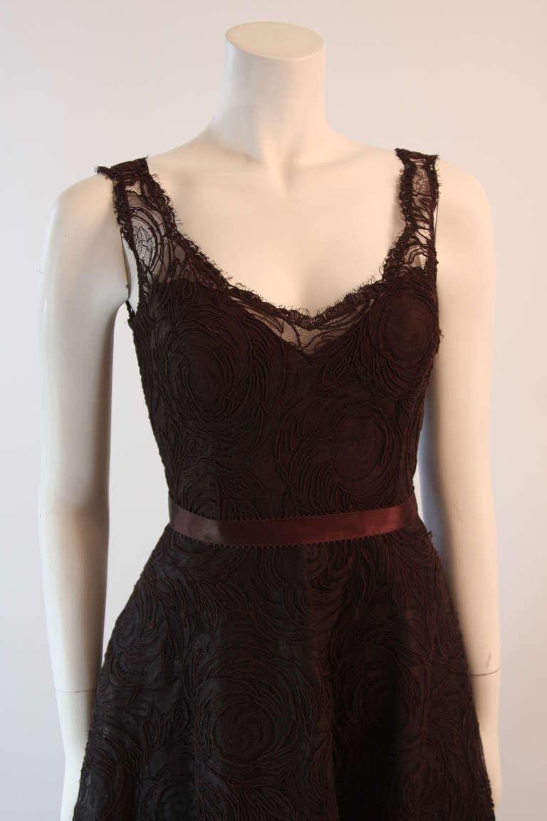 Monique Lhuillier Brown Lace Cocktail Dress Size 8 3