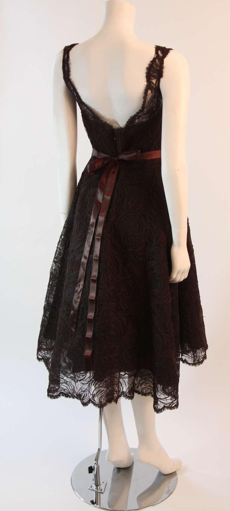 Monique Lhuillier Brown Lace Cocktail Dress Size 8 5