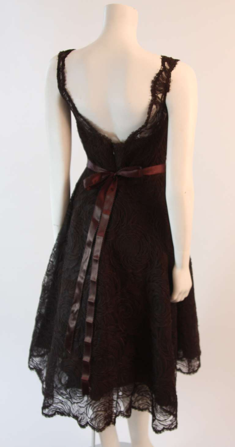Monique Lhuillier Brown Lace Cocktail Dress Size 8 6