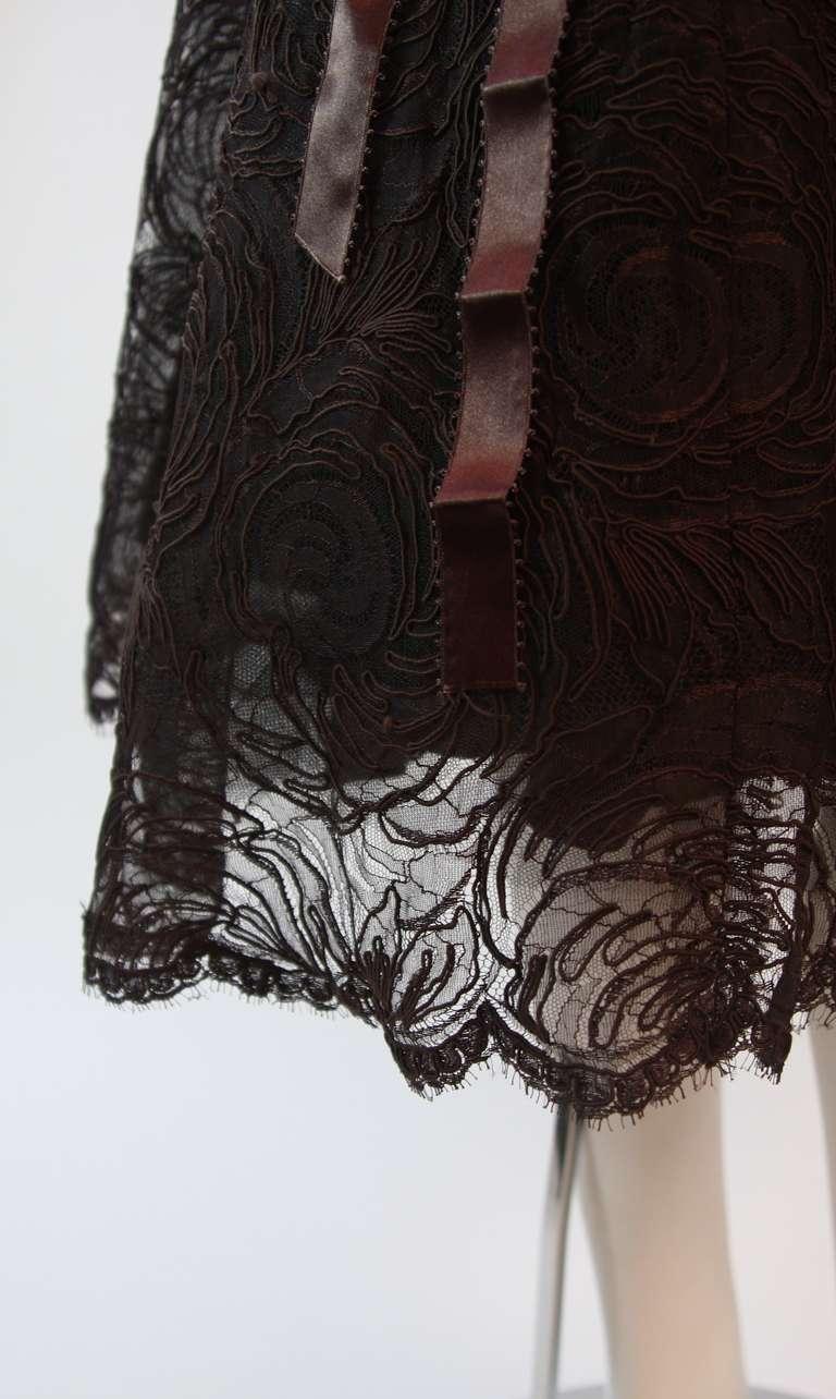 Monique Lhuillier Brown Lace Cocktail Dress Size 8 9