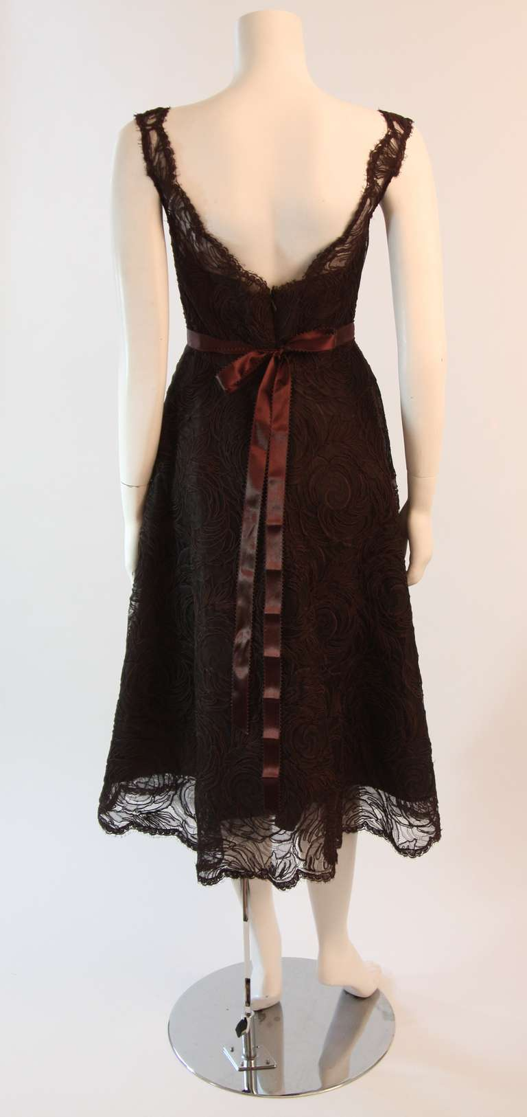 Monique Lhuillier Brown Lace Cocktail Dress Size 8 For Sale 3