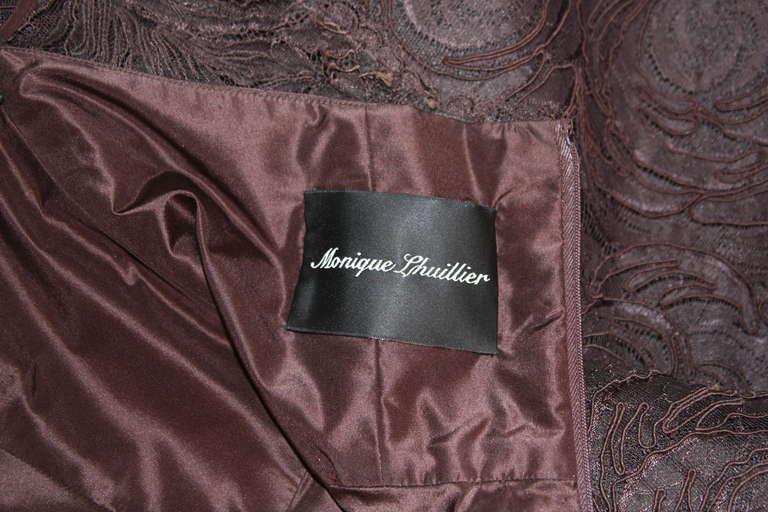 Monique Lhuillier Brown Lace Cocktail Dress Size 8 10