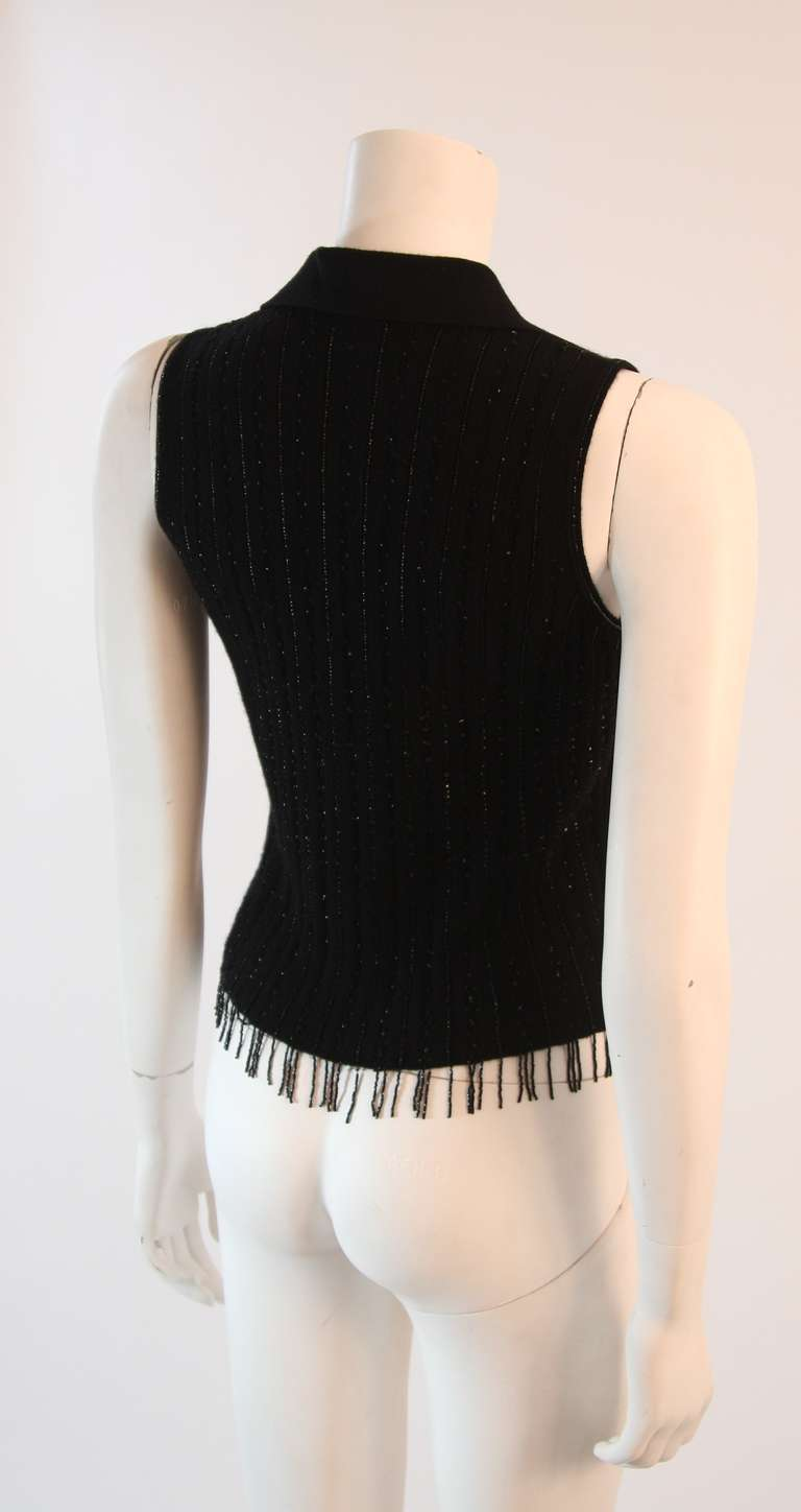 Oscar De La Renta Black Cashmere and Silk Beaded Jumper Size S For Sale 2