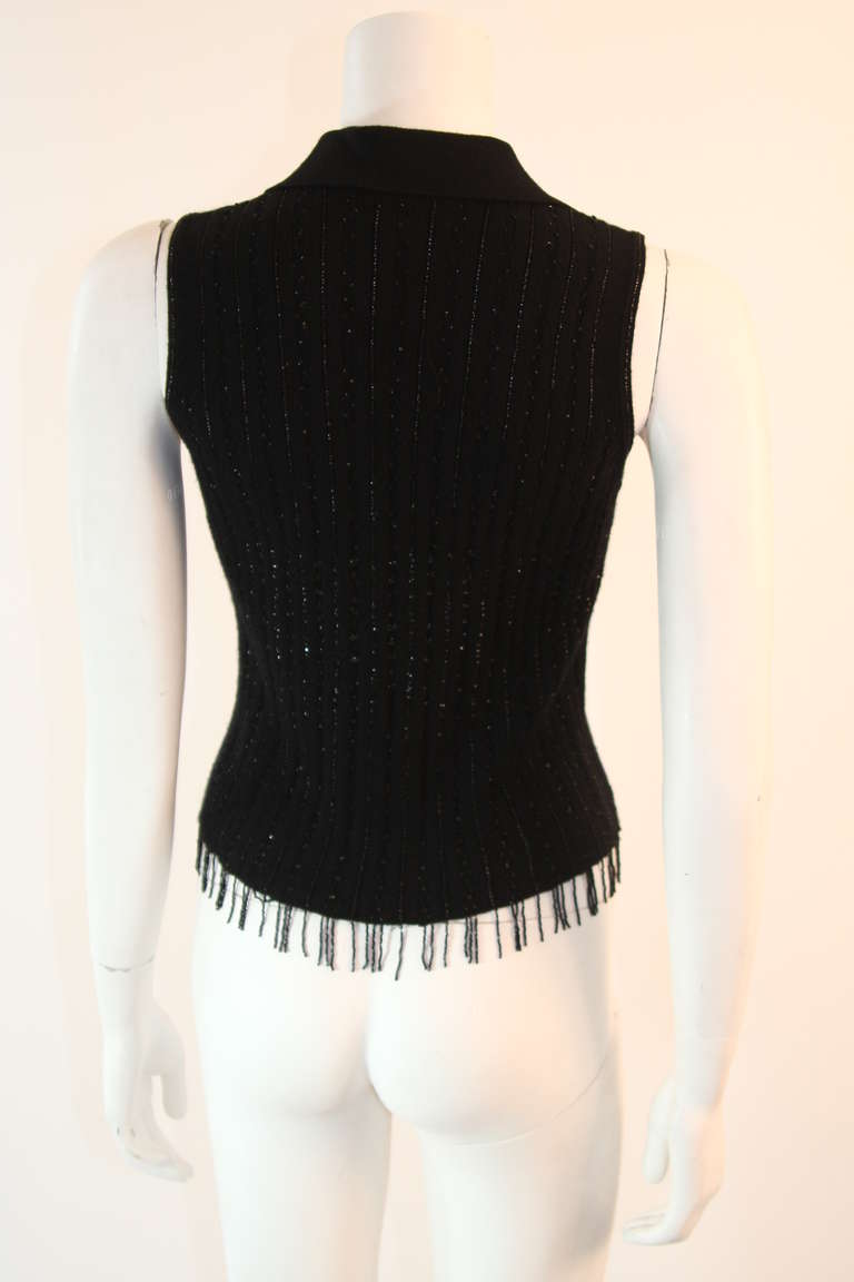 Oscar De La Renta Black Cashmere and Silk Beaded Jumper Size S For Sale 3