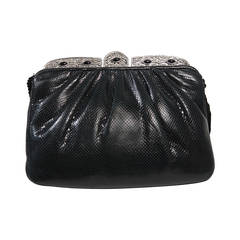 Judith Leiber Embellished Black Lizard Evening Purse with Metal Frame