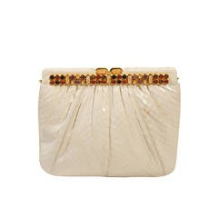 Judith Leiber White Snakeskin Clutch with Multi-Stone Gold Frame