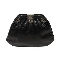 Judith Leiber Black Lizard Clutch with Rhinestone Encrusted Clasp