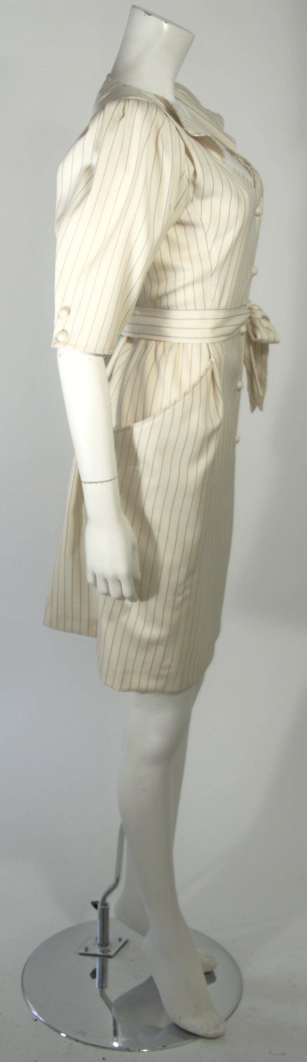 Beige Ungaro Cream Pin Stripe Dress with Center Front Buttons 42 8 For Sale