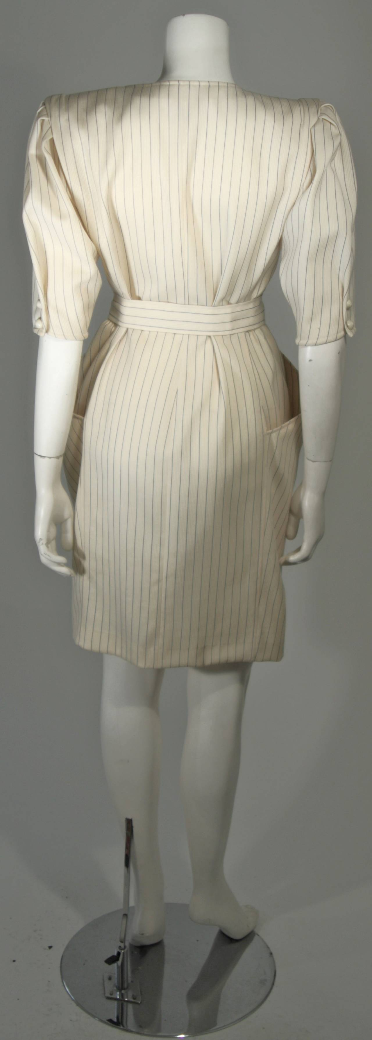 Ungaro Cream Pin Stripe Dress with Center Front Buttons 42 8 For Sale 2