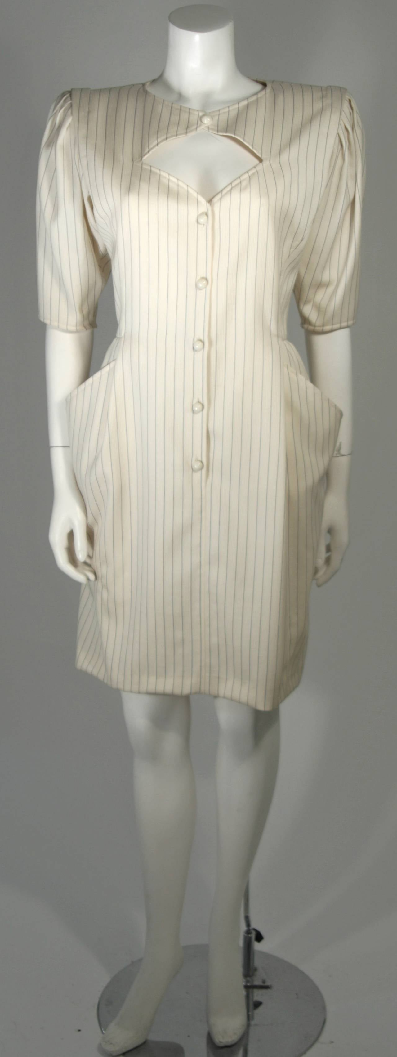Ungaro Cream Pin Stripe Dress with Center Front Buttons 42 8 For Sale 3