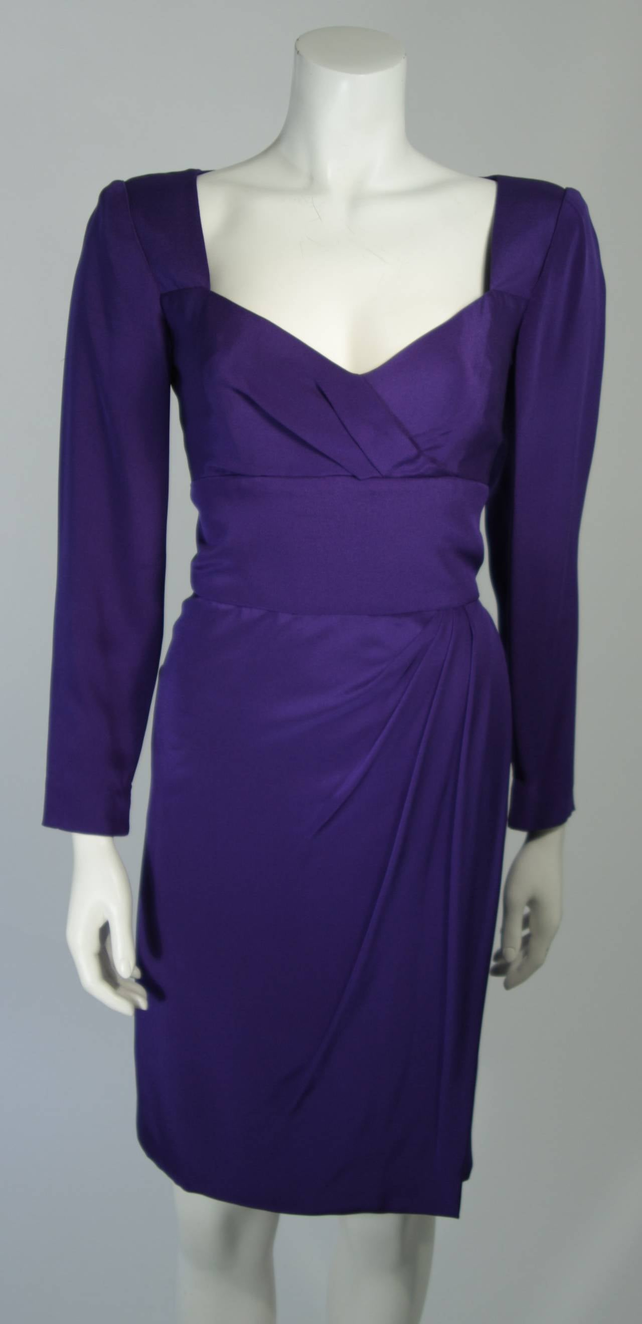 Travilla Purple Silk Long Sleeve Cocktail Dress with Draping Size 8 In Excellent Condition For Sale In Los Angeles, CA