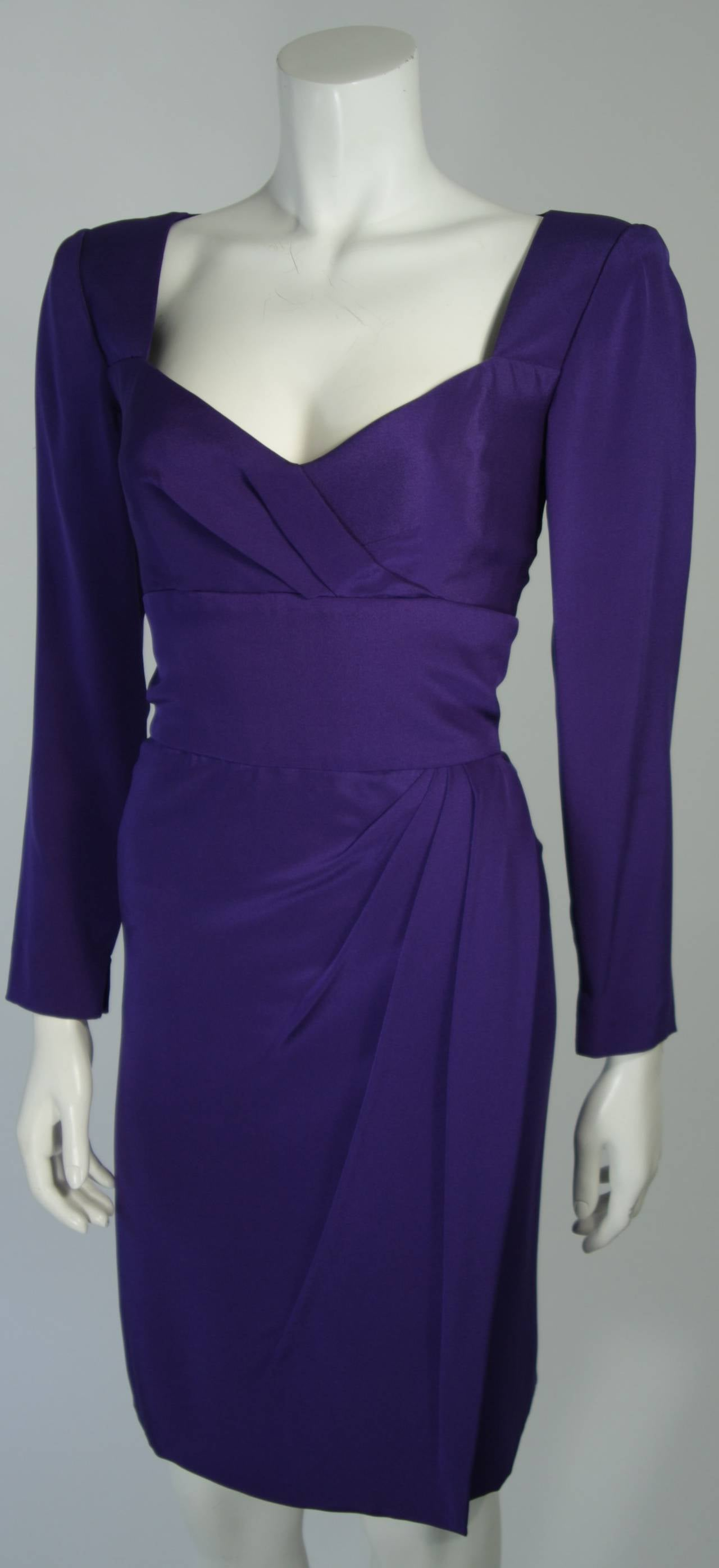 Travilla Purple Silk Long Sleeve Cocktail Dress with Draping Size 8 For Sale 1