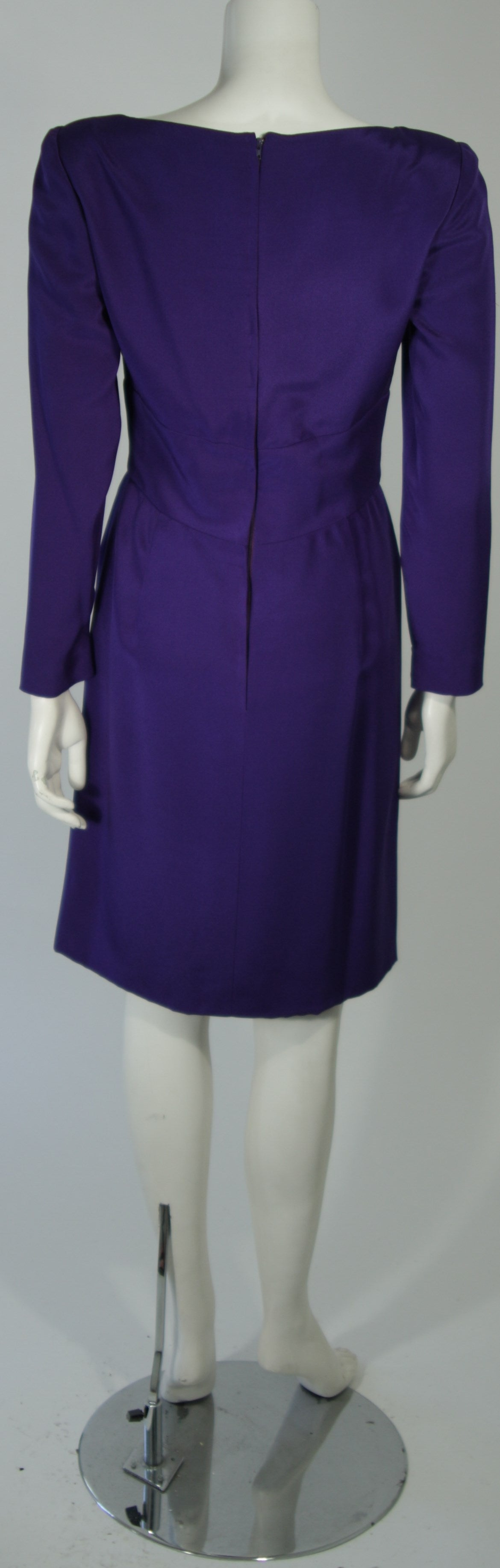 Travilla Purple Silk Long Sleeve Cocktail Dress with Draping Size 8 For Sale 5