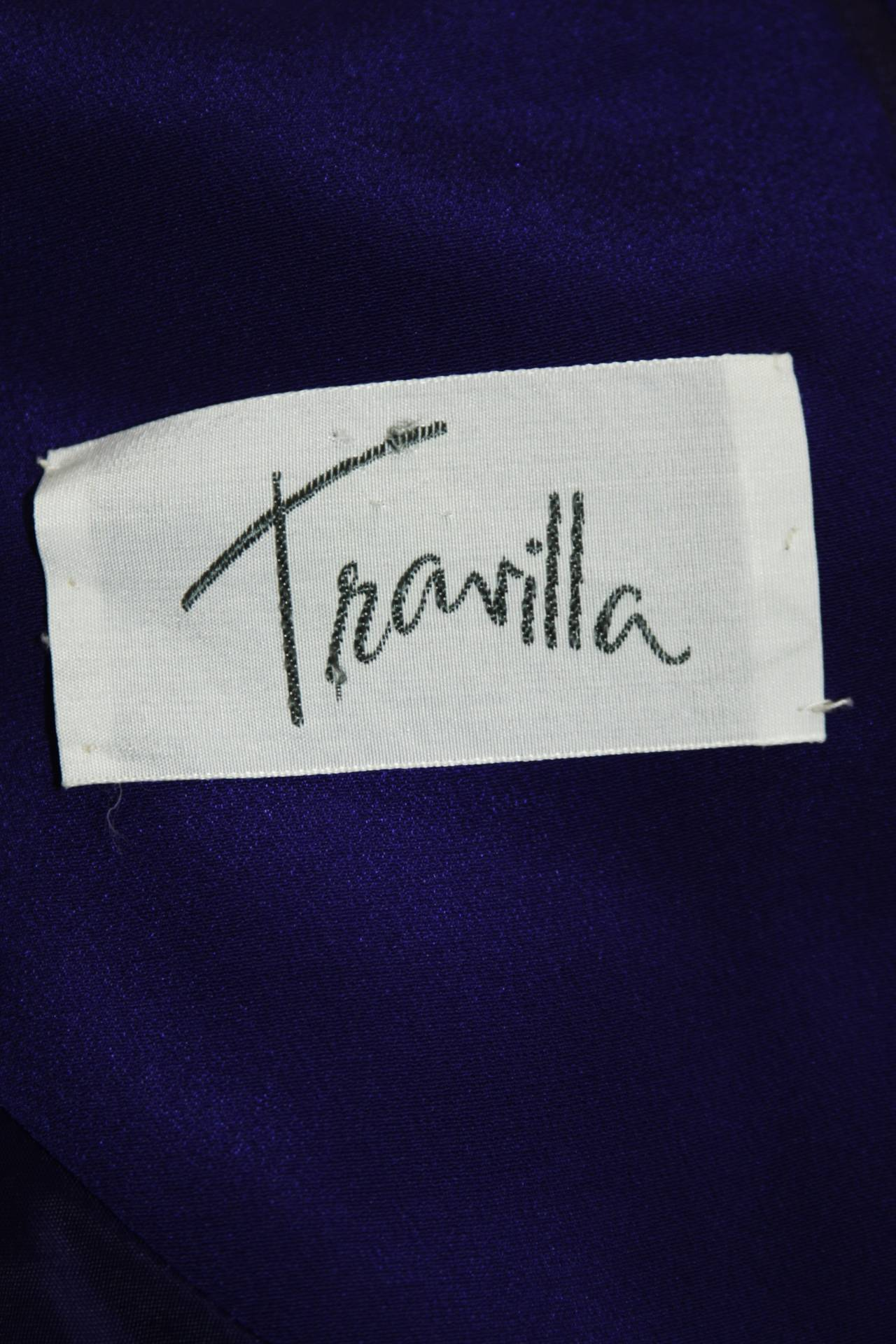 Travilla Purple Silk Long Sleeve Cocktail Dress with Draping Size 8 For Sale 6