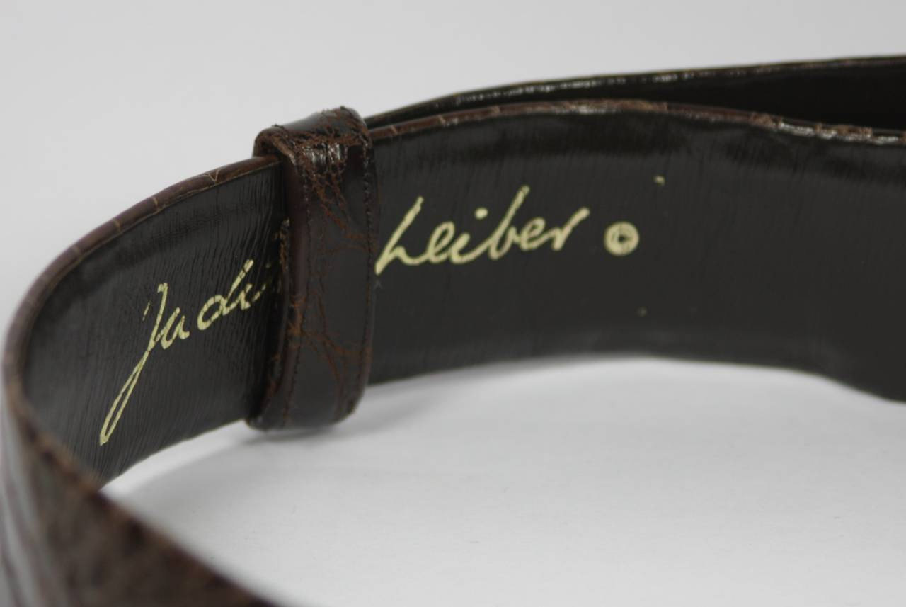 judith leiber brown alligator belt with gold buckle at 1stdibs