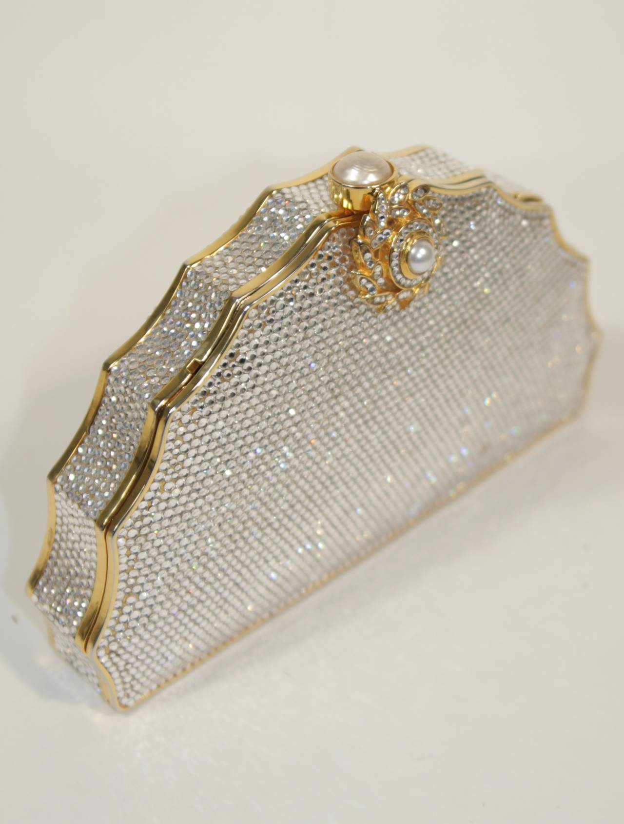 JUDITH LEIBER Classic Pave Rhinestone Minaudiare  with Chain Strap & Gold Detail 2