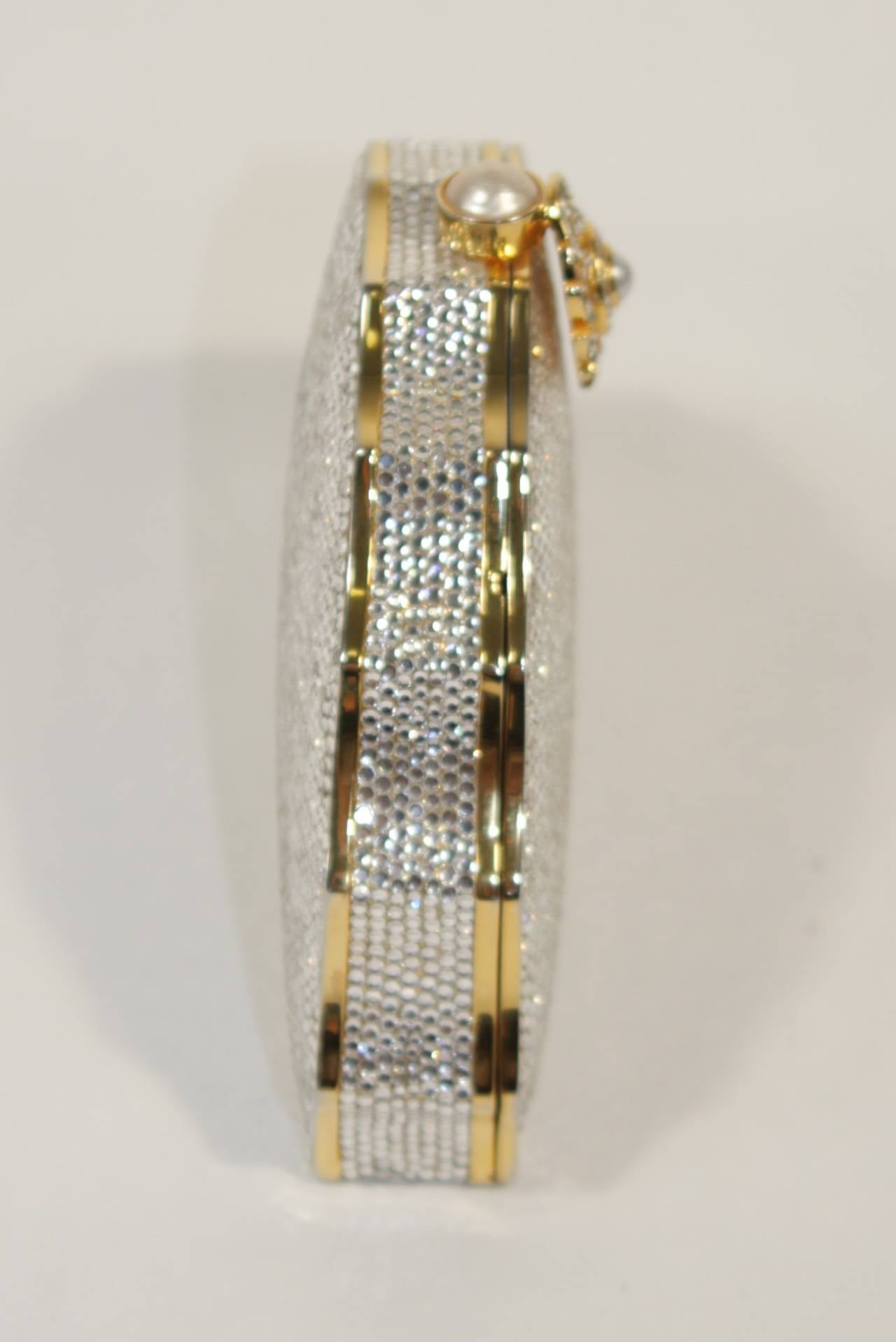 JUDITH LEIBER Classic Pave Rhinestone Minaudiare  with Chain Strap & Gold Detail For Sale 3