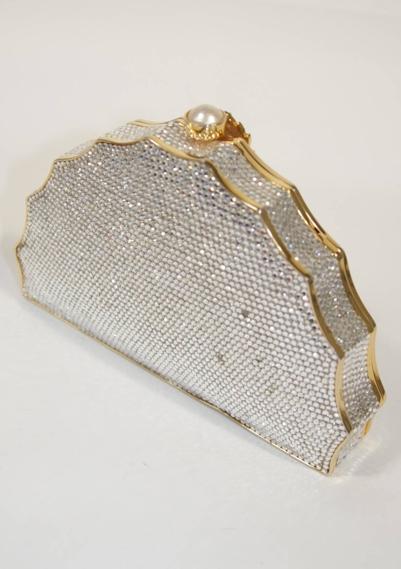 JUDITH LEIBER Classic Pave Rhinestone Minaudiare  with Chain Strap & Gold Detail For Sale 1