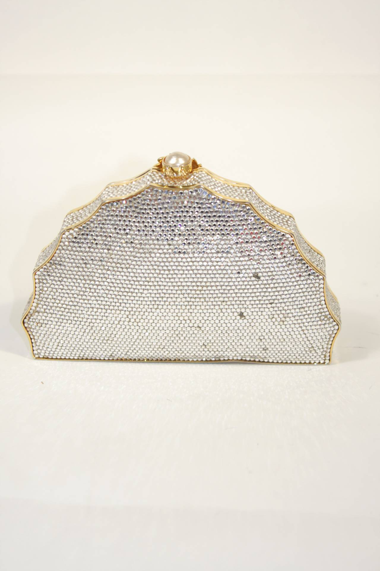 JUDITH LEIBER Classic Pave Rhinestone Minaudiare  with Chain Strap & Gold Detail For Sale 2
