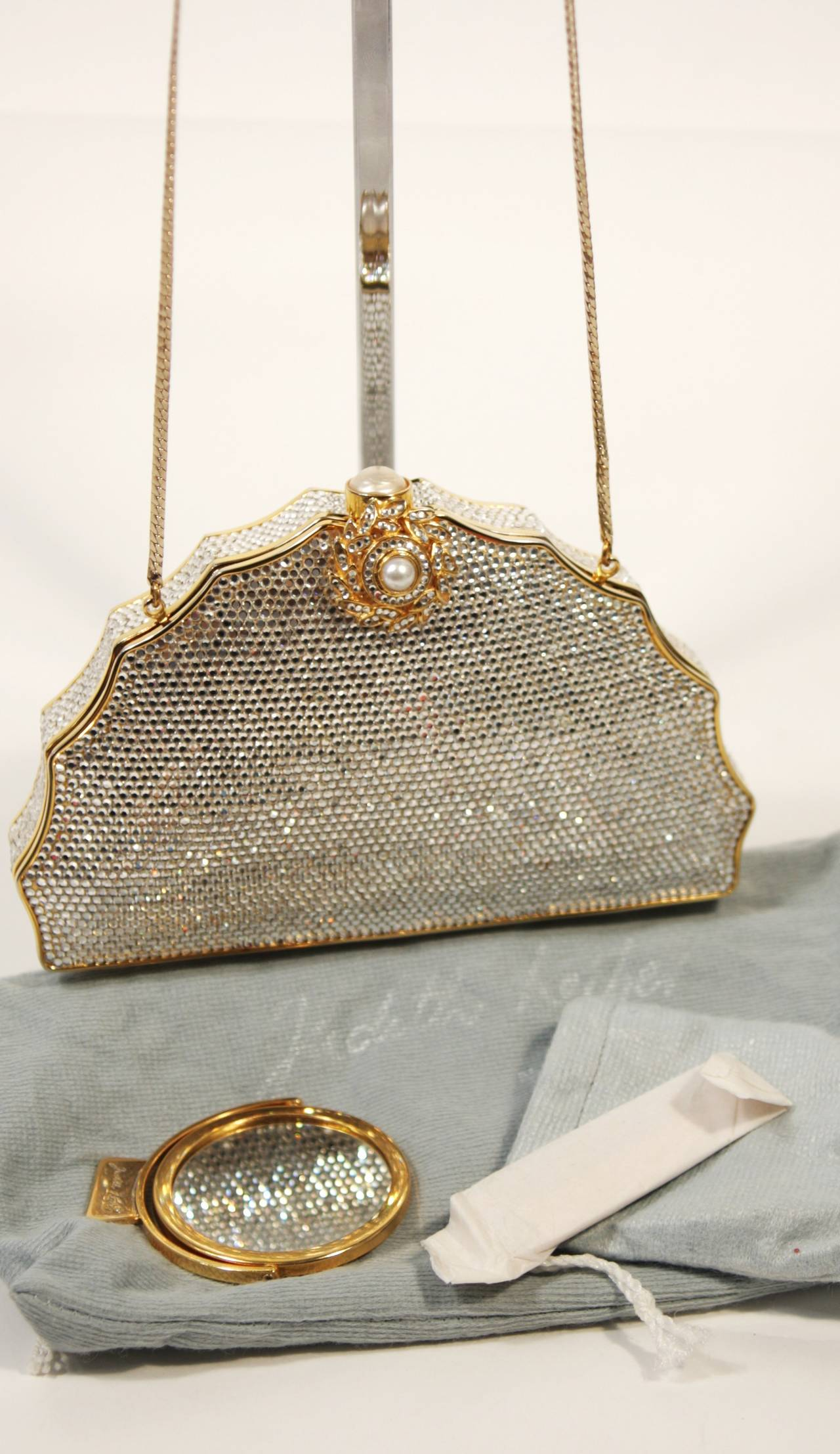 JUDITH LEIBER Classic Pave Rhinestone Minaudiare  with Chain Strap & Gold Detail For Sale 5