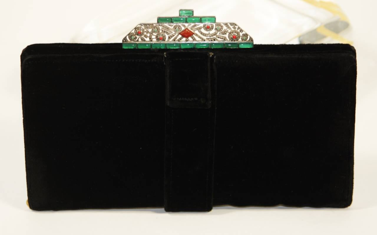 Vintage Deco Velvet Evening Clutch with Jewel Details 2