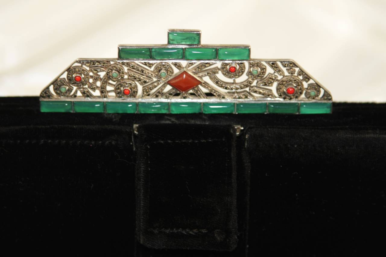 Vintage Deco Velvet Evening Clutch with Jewel Details 3
