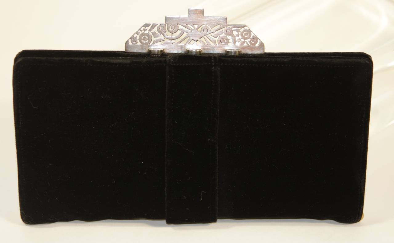 Vintage Deco Velvet Evening Clutch with Jewel Details 5