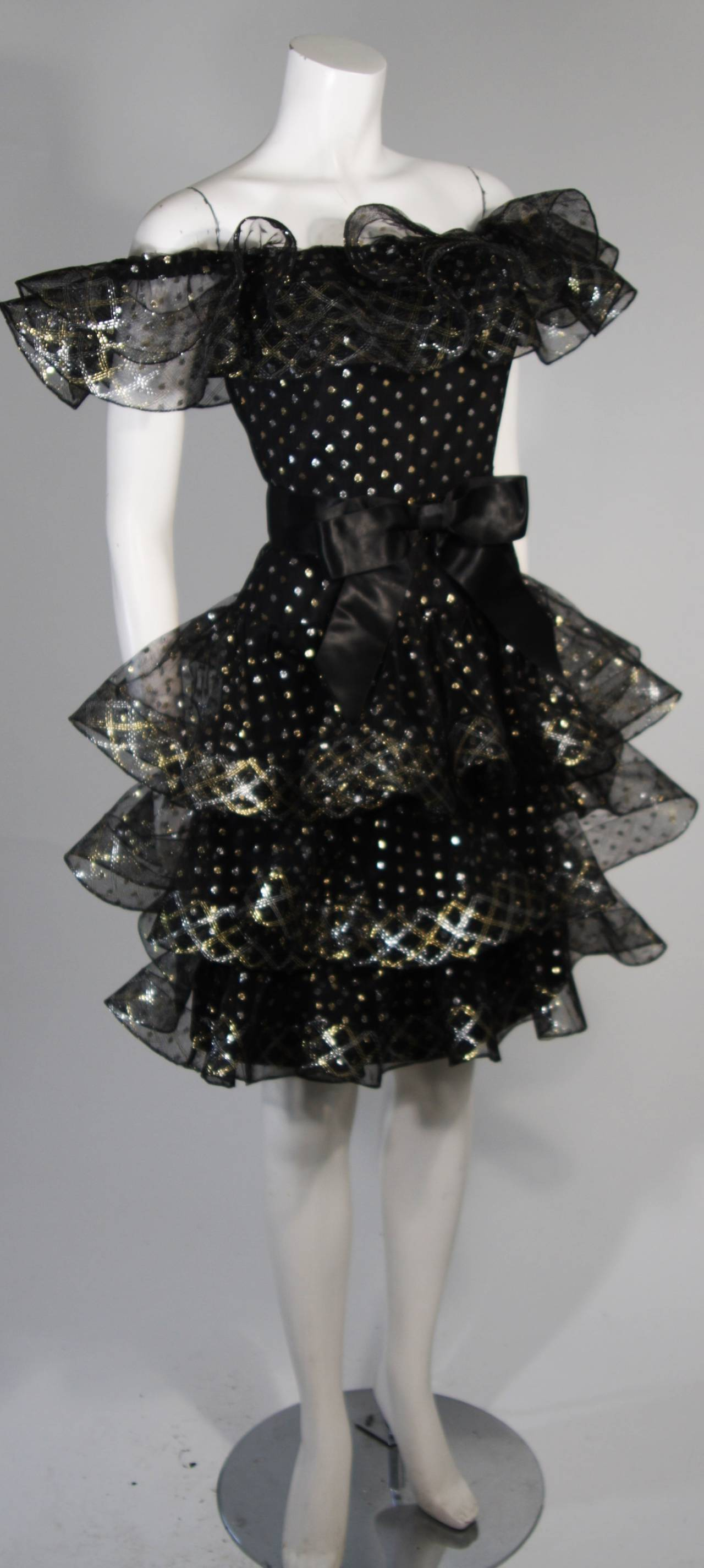 Victor Costa Black with Gold and Silver Metallic Accents Cocktail Dress Size 2 For Sale 1