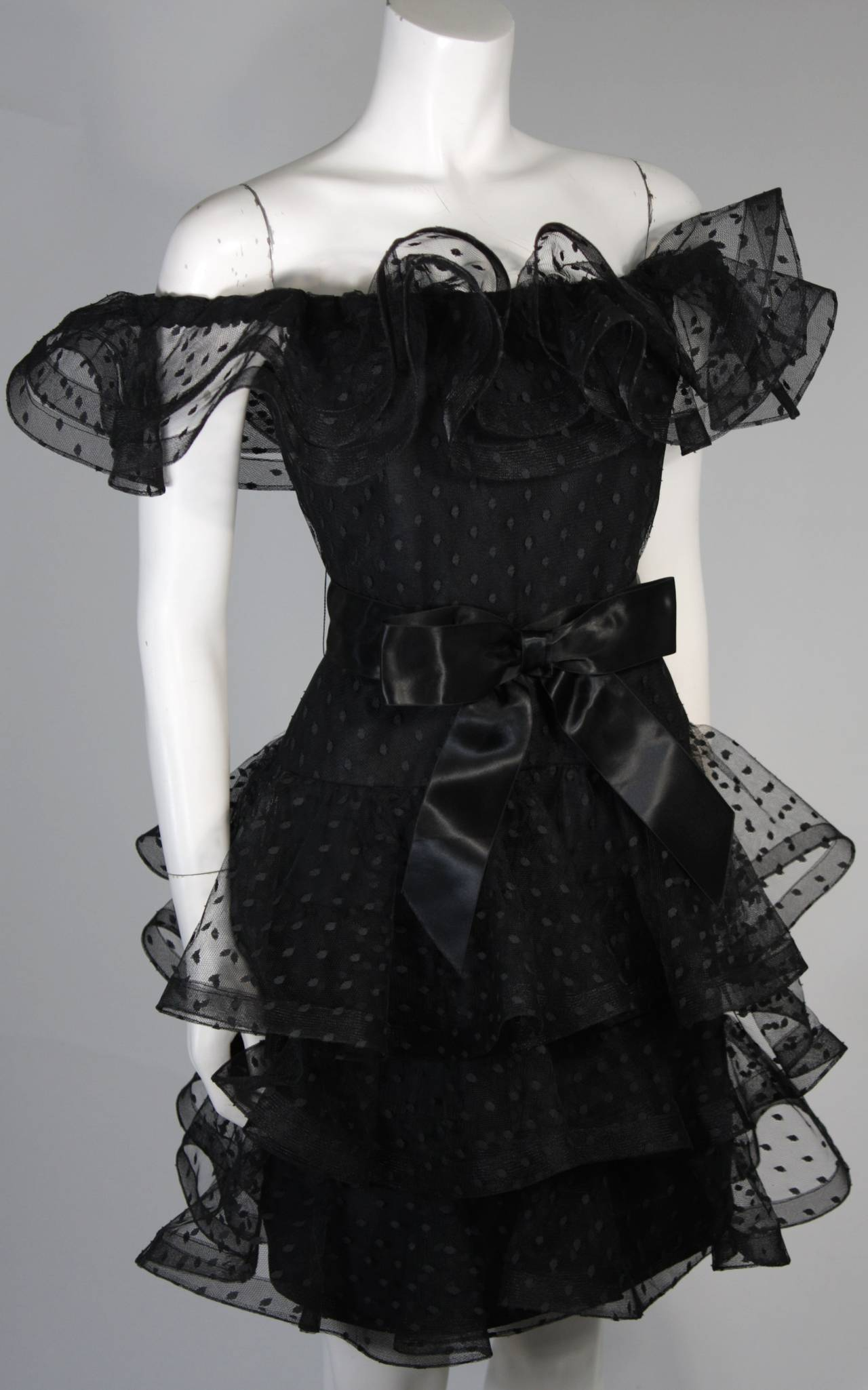 Victor Costa Black Cocktail Dress with Ruffled Horsehair Hemlines Size 2 For Sale 1