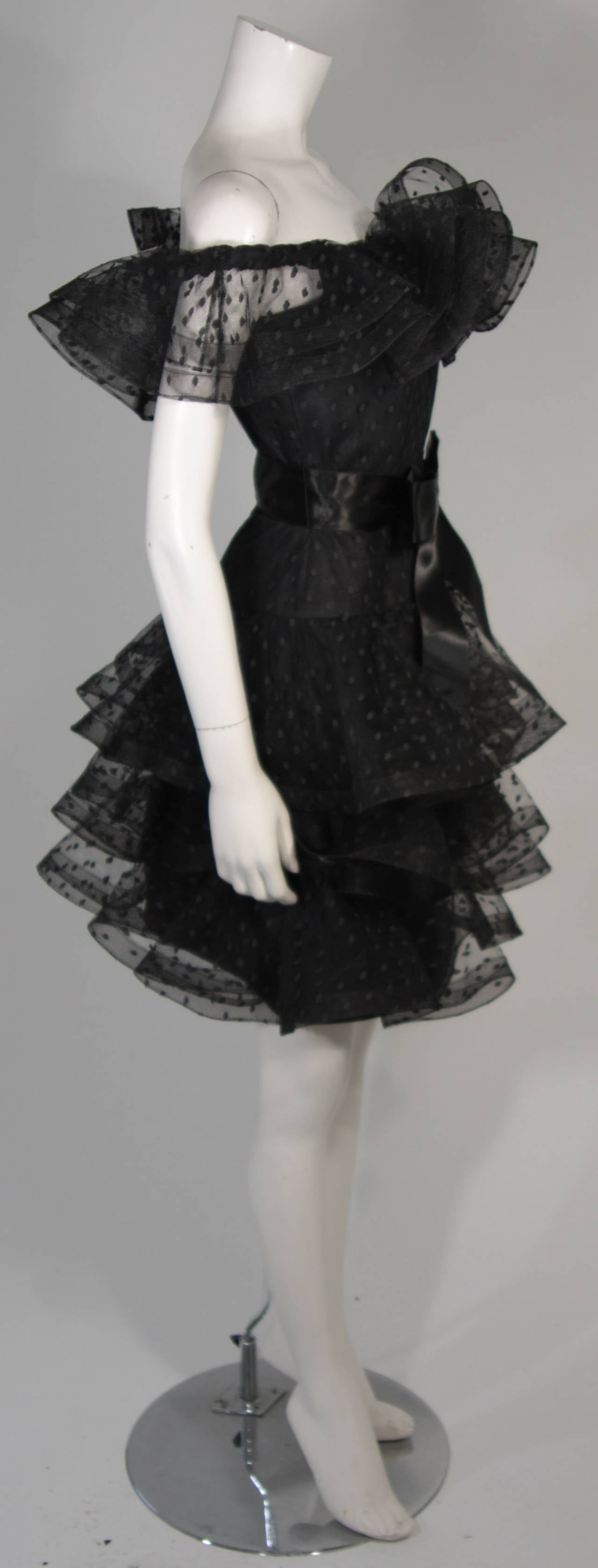 Victor Costa Black Cocktail Dress with Ruffled Horsehair Hemlines Size 2 For Sale 2