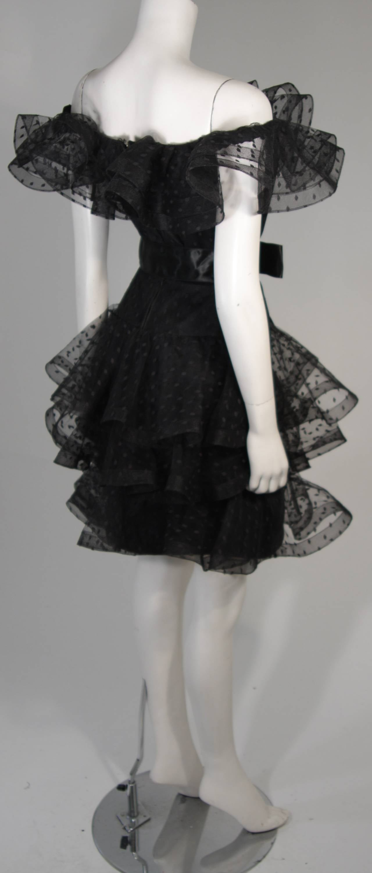 Victor Costa Black Cocktail Dress with Ruffled Horsehair Hemlines Size 2 For Sale 4