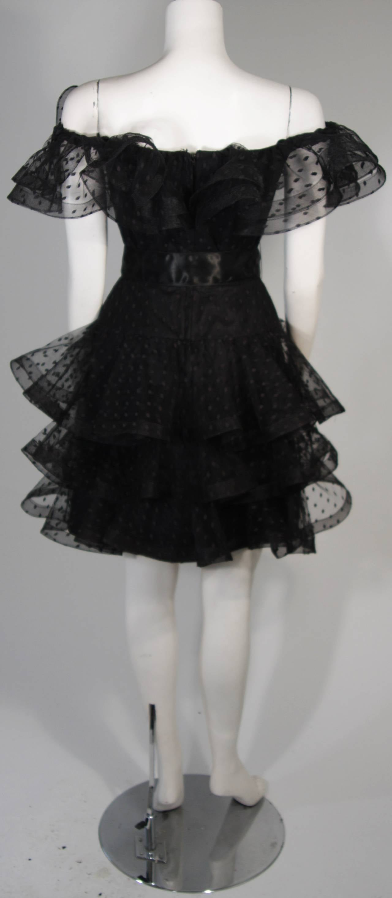 Victor Costa Black Cocktail Dress with Ruffled Horsehair Hemlines Size 2 For Sale 5