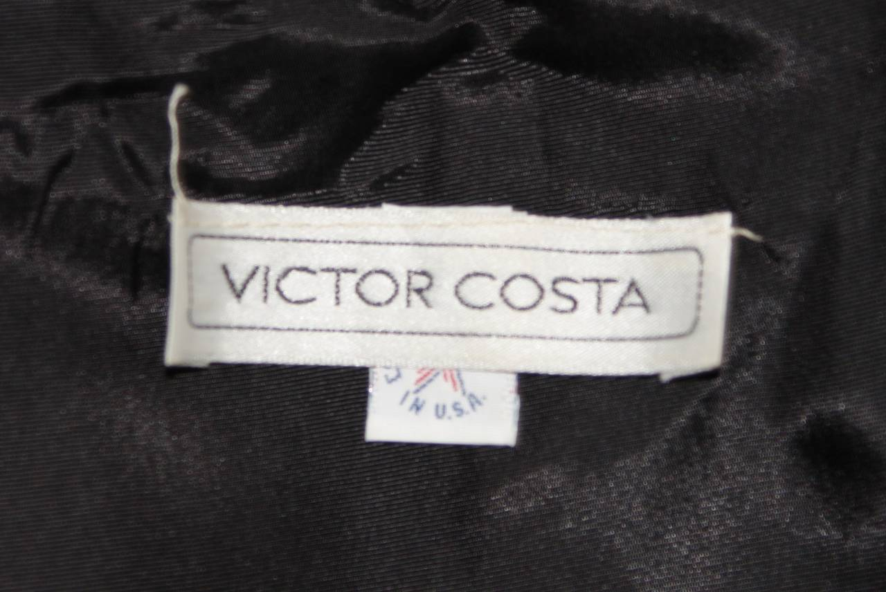 Victor Costa Black Cocktail Dress with Ruffled Horsehair Hemlines Size 2 For Sale 6