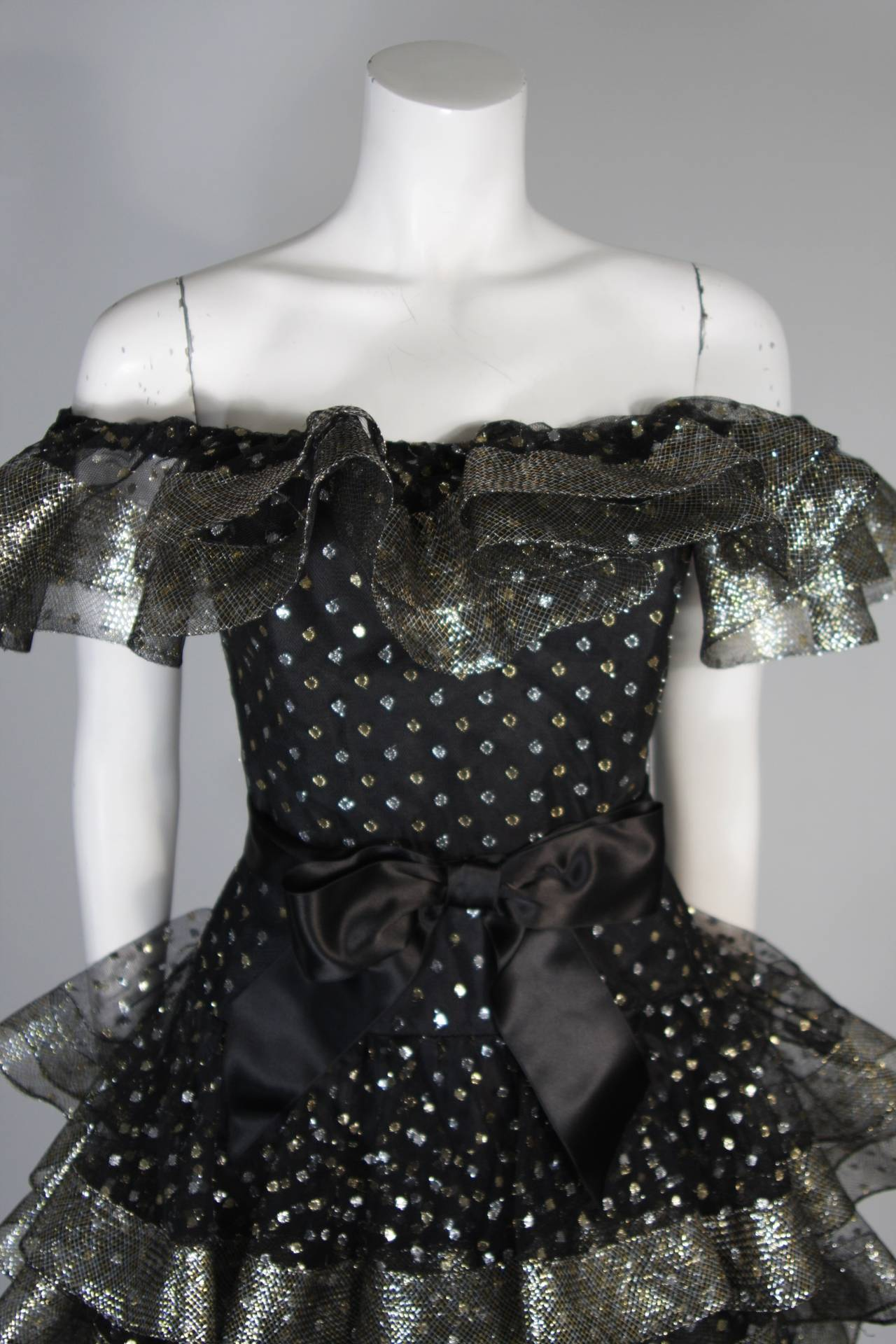 Men's Victor Costa Black Ruffled Cocktail Dress with Silver and Gold Polka Dots Size 2 For Sale