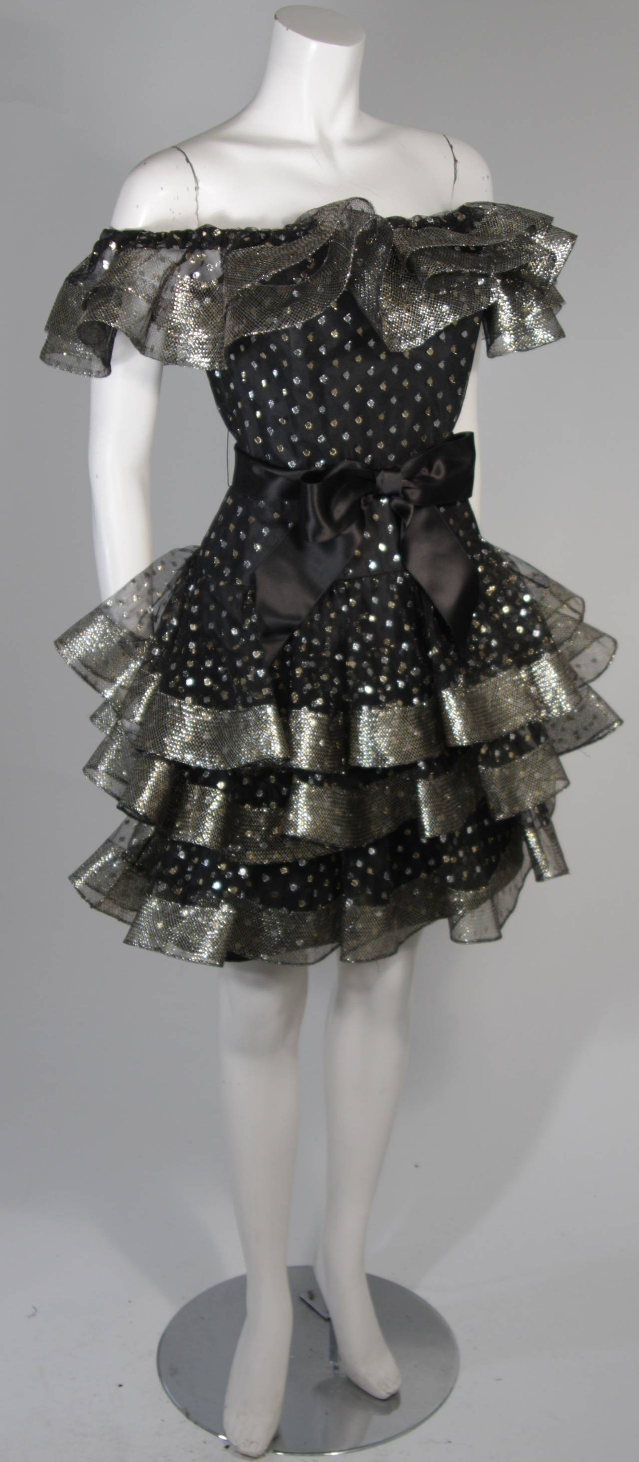 Victor Costa Black Ruffled Cocktail Dress with Silver and Gold Polka Dots Size 2 For Sale 1