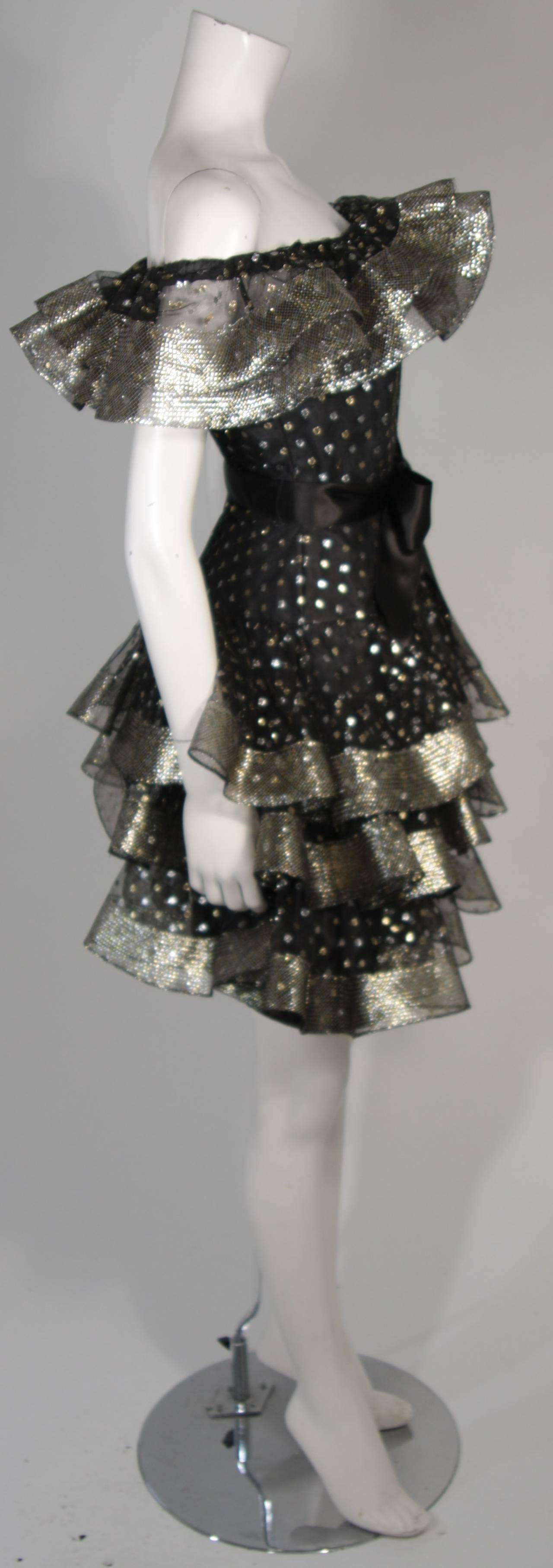 Victor Costa Black Ruffled Cocktail Dress with Silver and Gold Polka Dots Size 2 For Sale 2