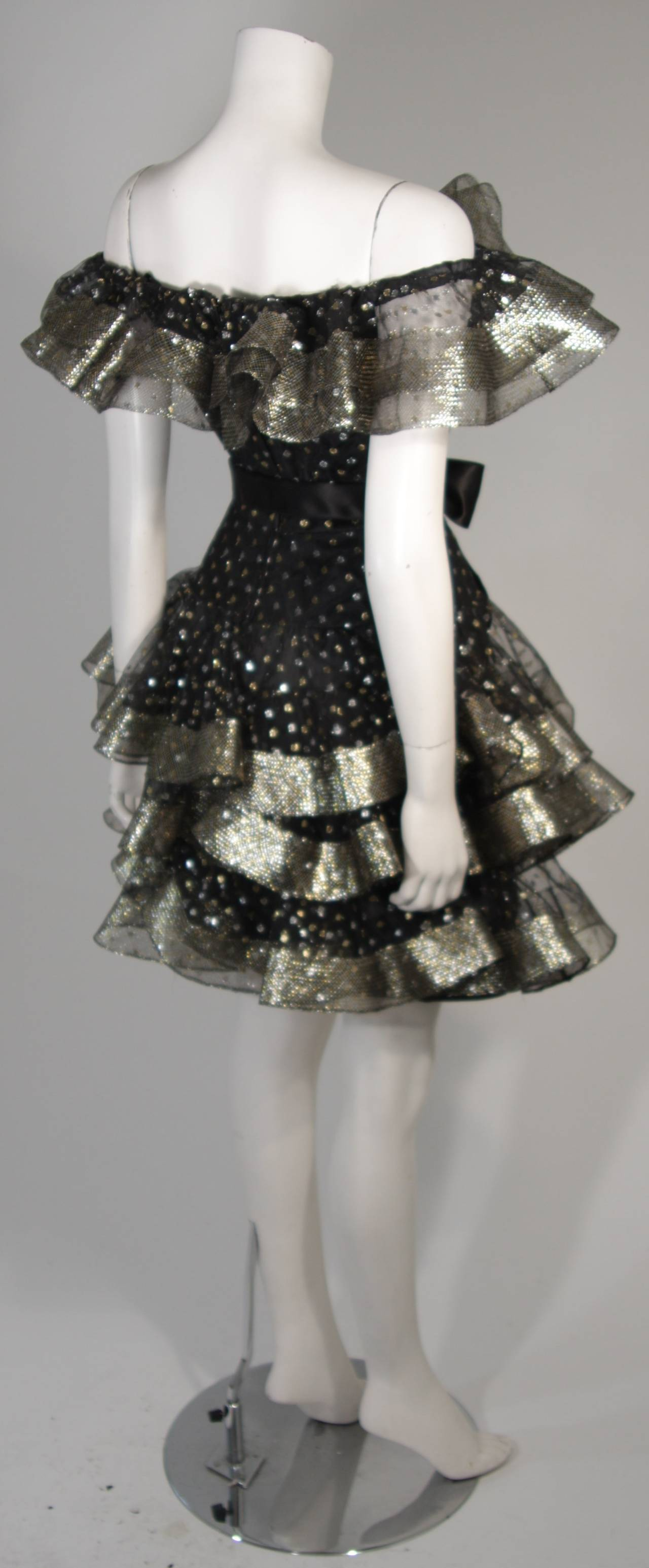 Victor Costa Black Ruffled Cocktail Dress with Silver and Gold Polka Dots Size 2 For Sale 3