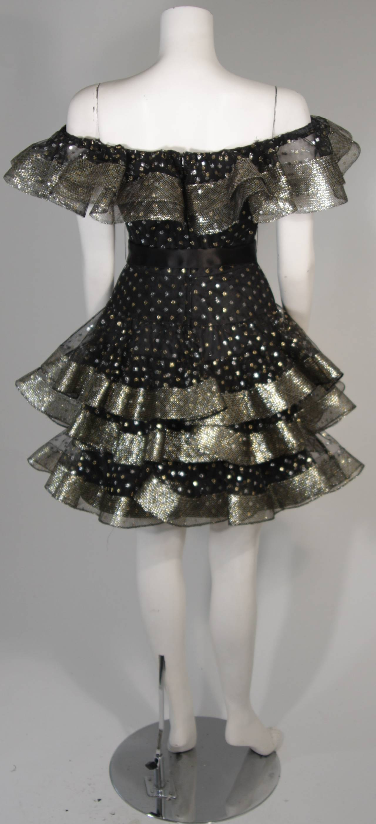 Victor Costa Black Ruffled Cocktail Dress with Silver and Gold Polka Dots Size 2 For Sale 4