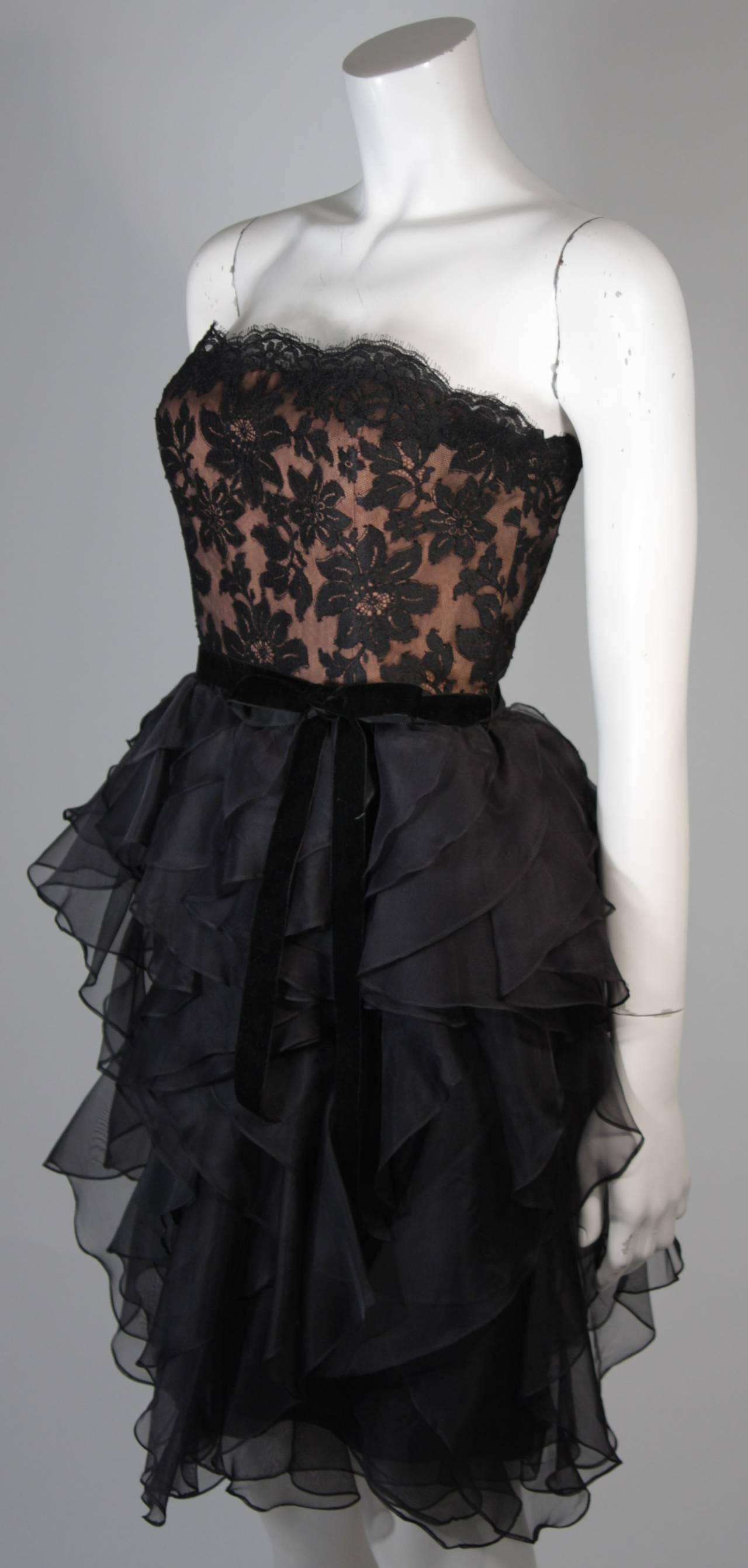 Jill Richards Black Lace Cocktail Dress with Layered Silk Skirt Size 6 For Sale 1
