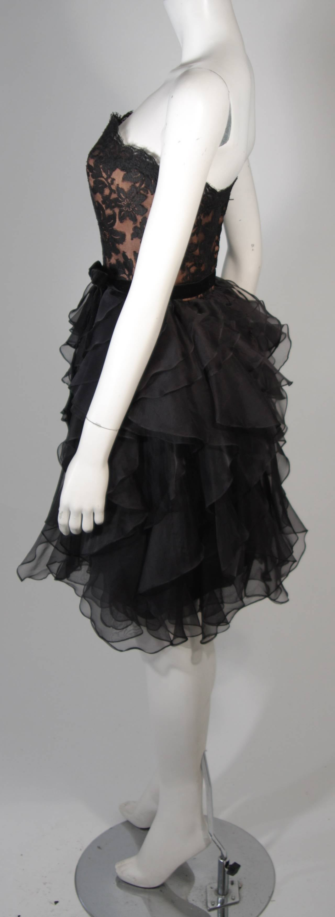 Jill Richards Black Lace Cocktail Dress with Layered Silk Skirt Size 6 For Sale 2