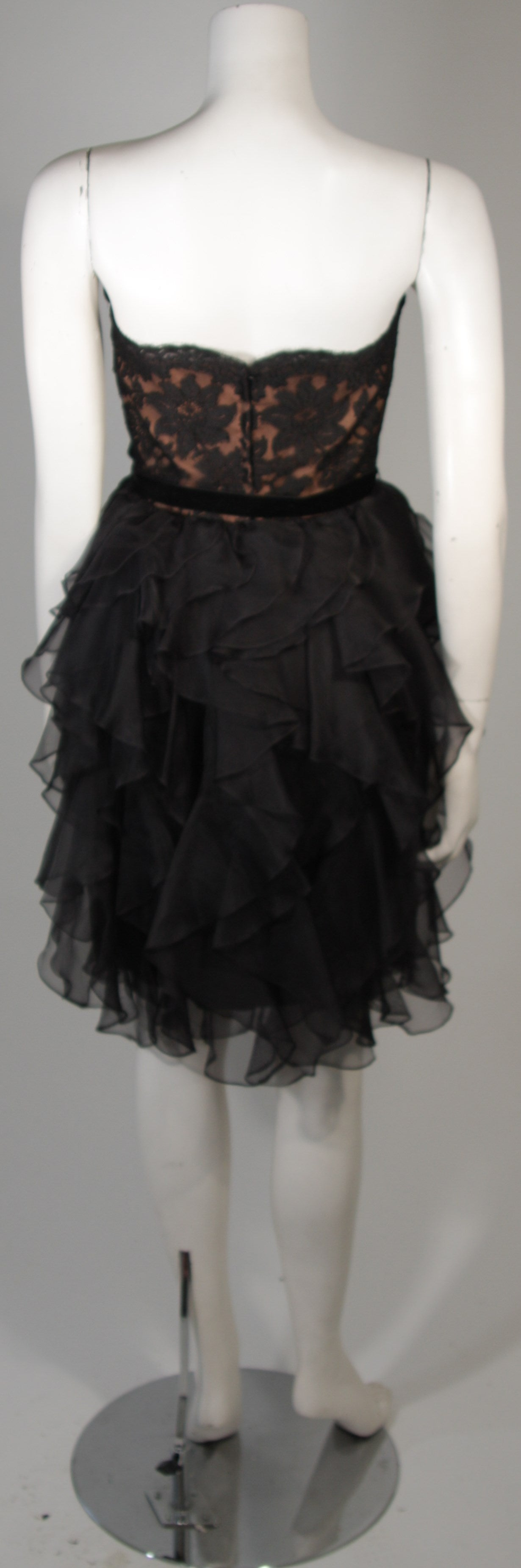 Jill Richards Black Lace Cocktail Dress with Layered Silk Skirt Size 6 For Sale 4