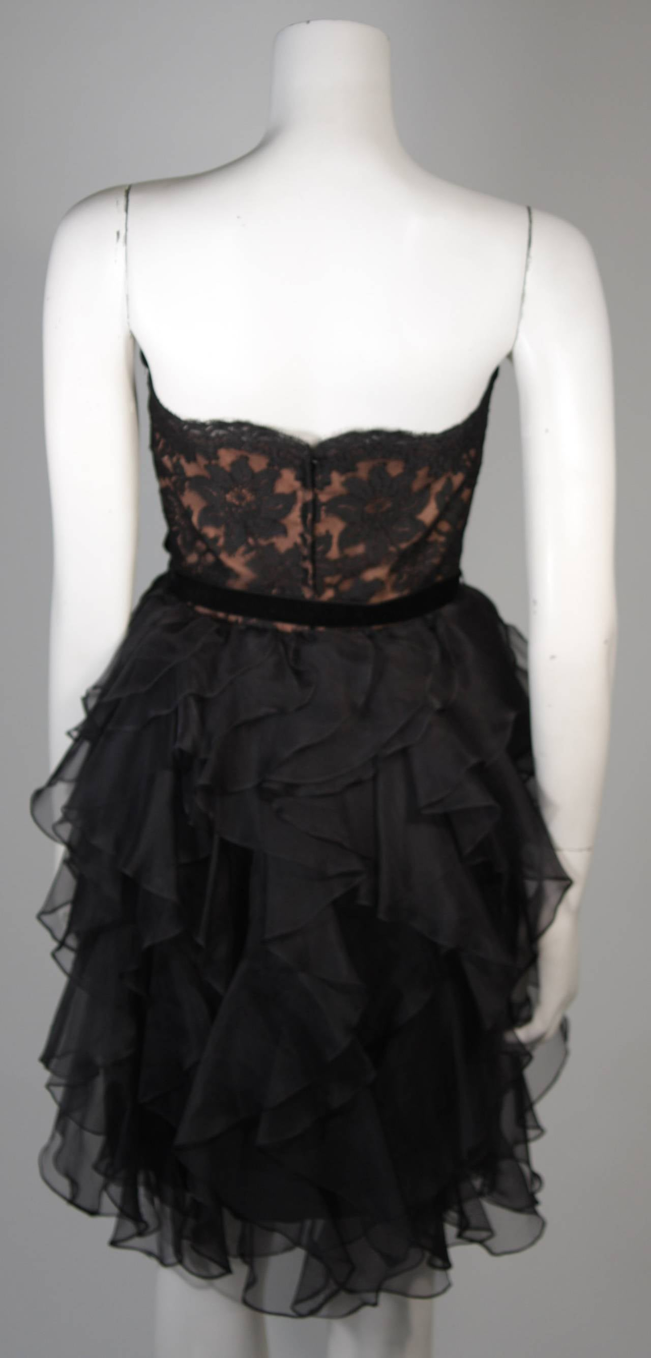 Jill Richards Black Lace Cocktail Dress with Layered Silk Skirt Size 6 For Sale 5