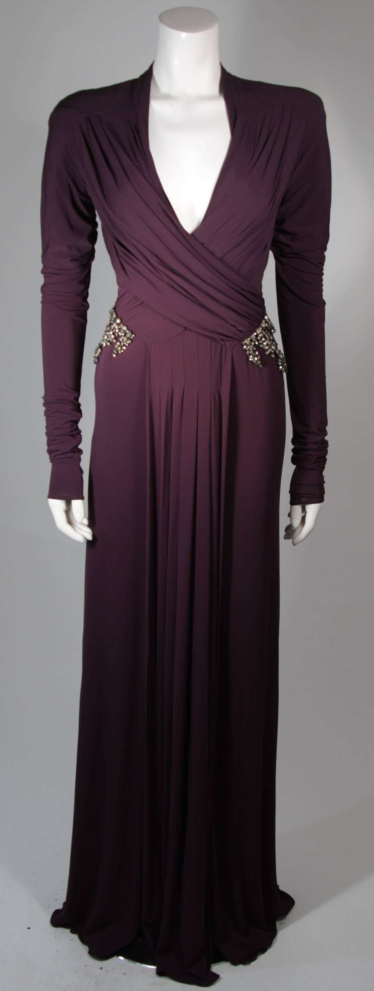 Roberto Cavalli Aubergine Long Sleeve Jersey Gown with Embellishments Size 40 2
