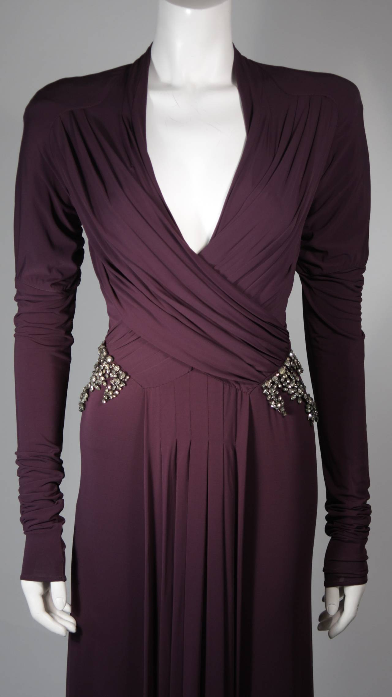 Roberto Cavalli Aubergine Long Sleeve Jersey Gown with Embellishments Size 40 3
